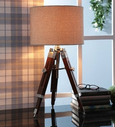 Brown Fabric Table Tripod Lamp