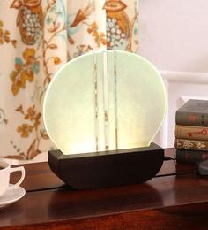 Brown Glass & Wood Edge Egg Table Lamp