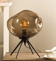 Brown Glass Table Tripod Lamp