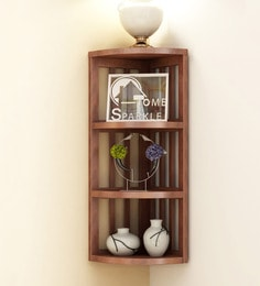 Brown Mango Wood Stripes Corner Shelf