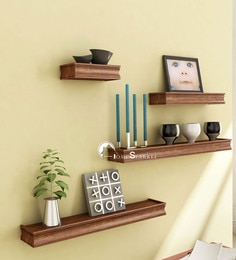 Brown Engineered Wood Wall Shelve - Set Of 4 By Home Sparkle