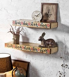 Brown Mango Wood Wood Hand Painted Wall Shelves
