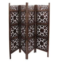 Brown MDF & Mango Wood 4 Panel Room Divider