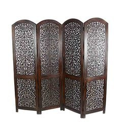 Brown MDF & Mango Wood Contemporary Folding Room Divider