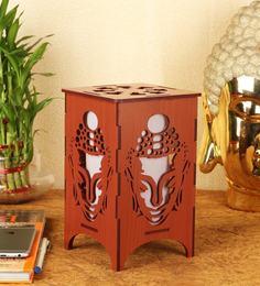 Brown MDF DIY Buddha Face Table Lamp