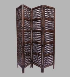 Brown MDF Handcrafted Folding Partition Screen