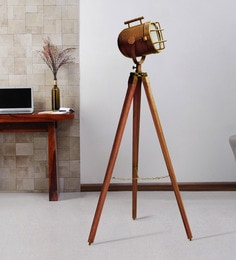 Brown Metal Floor Tripod Lamp