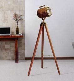 Brown Metal Floor Tripod Lamp
