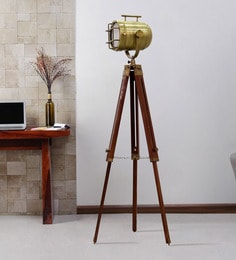 Brown Metal Floor Tripod Lamp - 1711242
