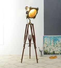 Brown Metal Table Tripod Lamp