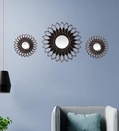 Brown Plastic Decorative Sun Flower Shape Wall Mirror - Set Of 3
