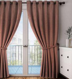 Brown Polyester Eyelet Door Curtain