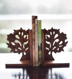 Brown Sheesham Wood Hand Carved & Engraved Tree Of Life Book End