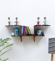 Brown Sheesham Wood Wall Shelf
