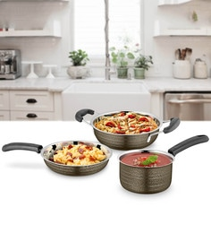 Brown Stainless Steel Cookware Set - Set Of 3