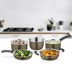 Brown Stainless Steel Cookware Set - Set Of 5