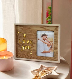 Brown Wood & Mdf I Love You Alphabets Square Photo Frame With Stand And Led Light