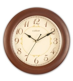 Brown Wood 12.2 X 1.6 X 12.2 Inch Round Shape Dome Glass Wall Clock