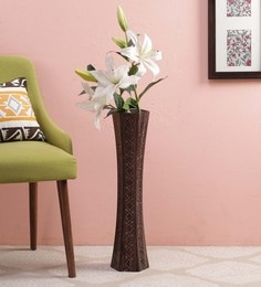 Brown Wooden Decorative Flower Vase Curio ... & Flower Vases - Buy Wooden \u0026 Metal Flower Glass Vase Online in India ...
