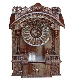 Brown Wooden Mandir For Home In Dark Shade