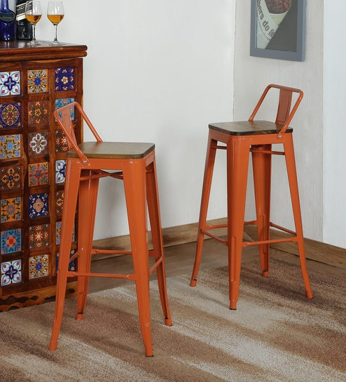 Braden Bar Stool (Set Of 2) In Burnt Orange Colour With Wooden Seat By  Bohemiana