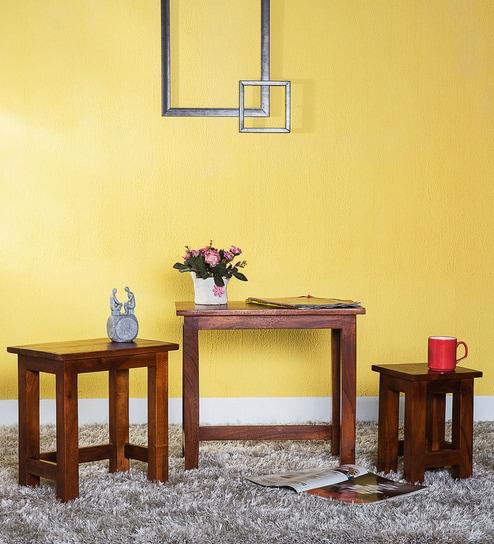 Buy Oakville Set of Tables in Honey Oak Finish by Woodsworth Online ...