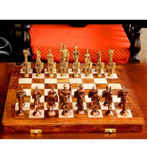 Brown Gold Wood Roman Chess Set Br Curio By Unravel India