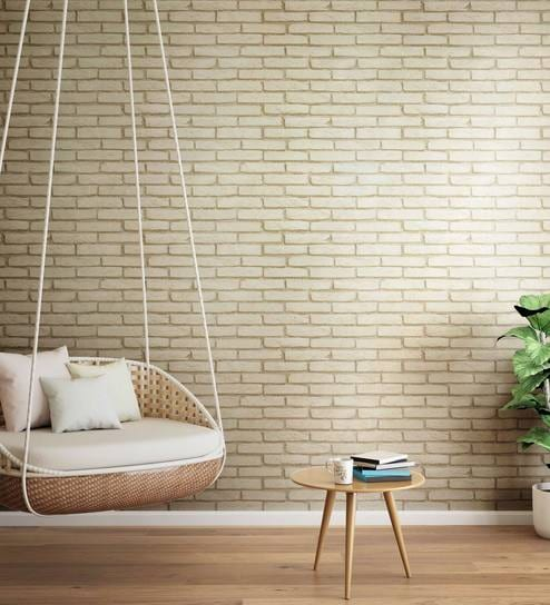 Brown Cream Brickside Wallpaper Nilaya Wall Coverings By Asian Paints