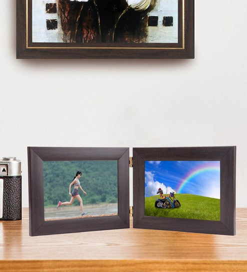 Buy Brown 18X 0.5X 7 Inch Synthetic Wood Dual Picture Photo Frame By ...