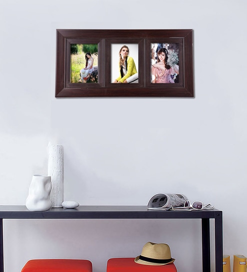 Buy Brown 19X 0.5X 8 Inch Synthetic Wood Wall Mounted Collage Photo ...