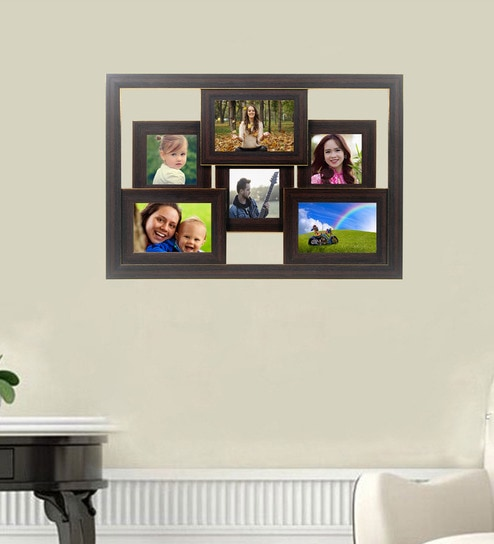 Buy Brown 21X 0.5X 15 Inch Synthetic Wood Collage Photo Frame By ...