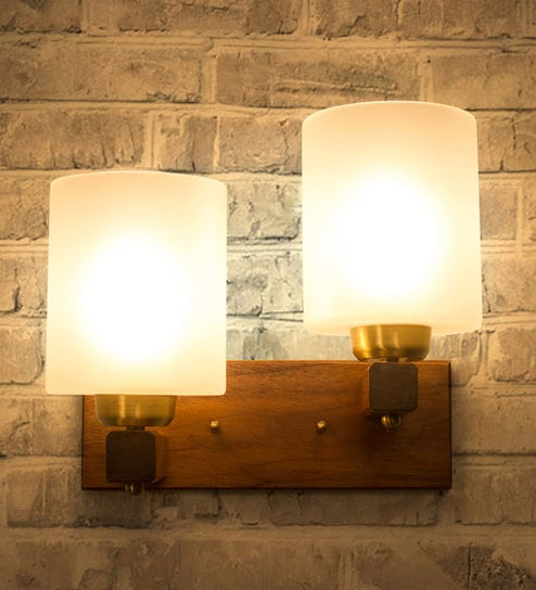 Brown and White Glass and Wood Polo Wall Light by Fos Lighting
