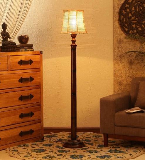 Brown Bamboo Floor Lamp - 1680050