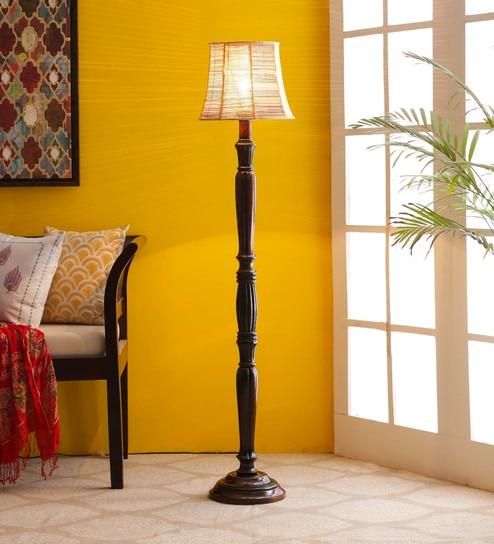 Brown Bamboo Floor Lamp - 1680032