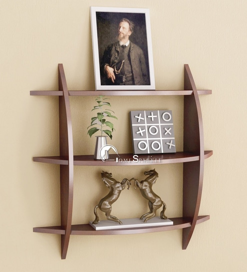 Criss Cross 3 Tier Wall Shelf In Brown Finish By Home Sparkle