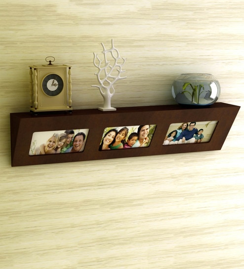 Floating Wall Shelf With 3 Photo Frames In Brown Finish By Home Sparkle Online Contemporary Shelves Art