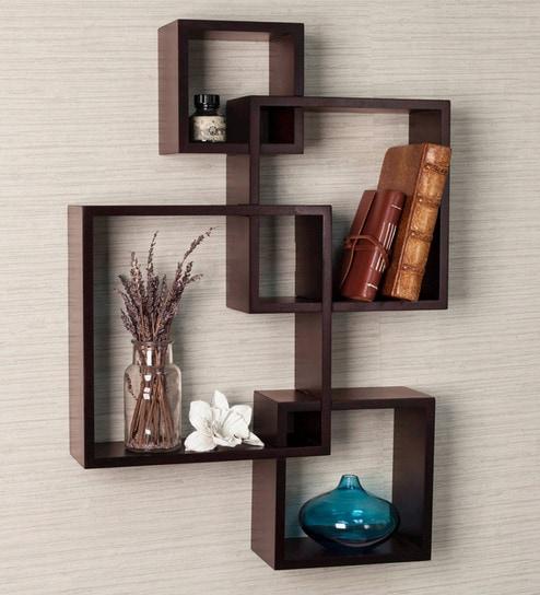 buy brown engineered wood wall shelf by driftingwood online