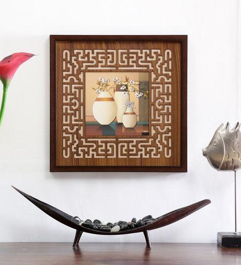 Buy Brown Fibre Wood 17 X 1 X 17 Inch Wall Frame By Shreenath
