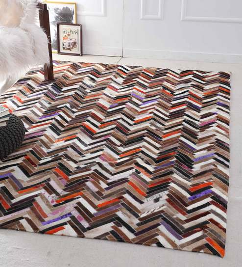 Brown Chevron Hand Woven Leather
