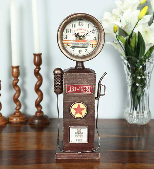 Brown Iron Vintage Pump Station Table Clock By Zahab