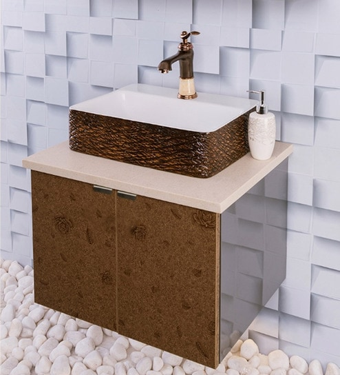 Stainless Steel Bathroom Vanity In Brown With Counter Top Wash