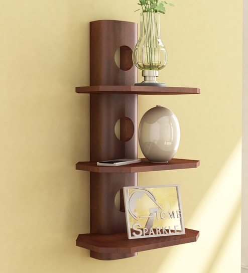 Solid Wood Hand-Made 3 Tier multi-Purpose Wall Shelf in Brown Finish by  Home Sparkle