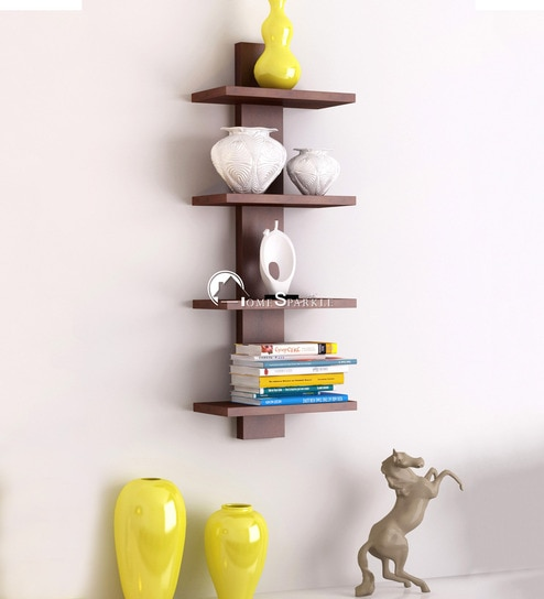 Spine 4 Tier Wall Shelf In Brown Finish By Home Sparkle