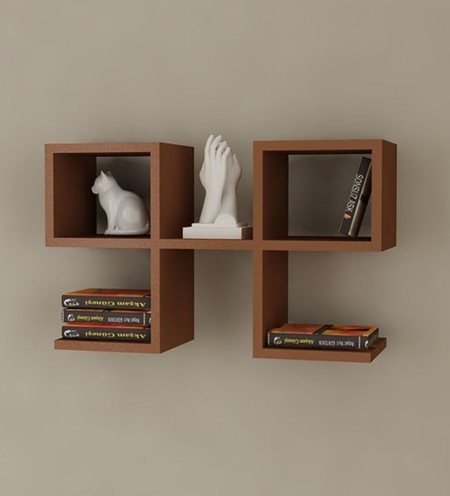 Buy Brown Mdf Modern Wall Shelf By Qesyas Online Contemporary Wall