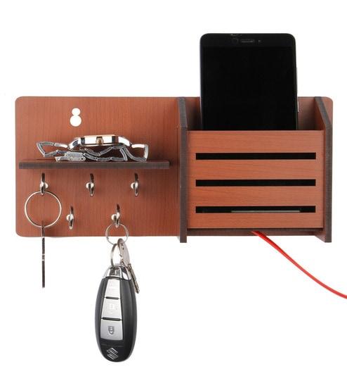 Sehaz Artworks Side Shelf Pocket Wooden Key Holder