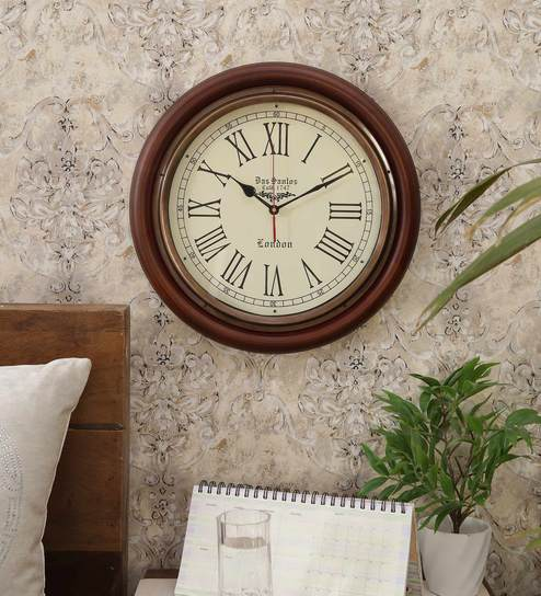Buy Brown Mdf Wood Antique Look Big Size Silent Vintage Wall Clock
