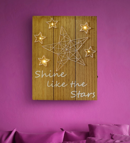 Brown Mdf Wood Star Wall Hanging Thread Art Work With Led Lights By Archies