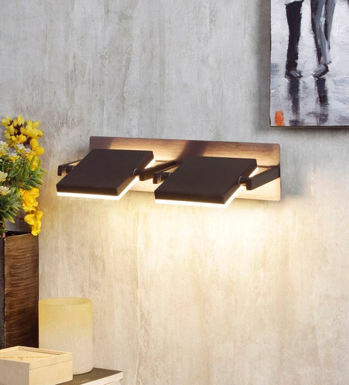 Brown Metal and Glass Wall Light by Jainsons Emporio