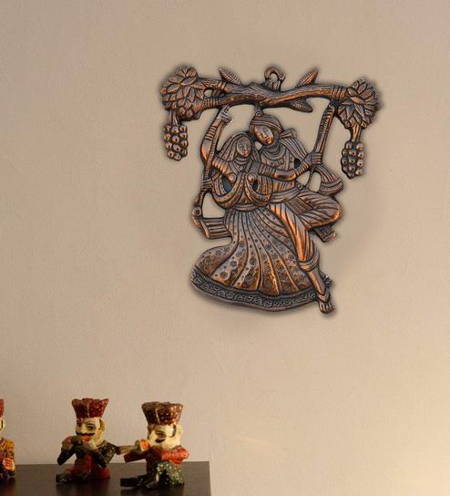 Brown Metal Wall Hanging of Radha Krishna On Swing by Ecraftindia