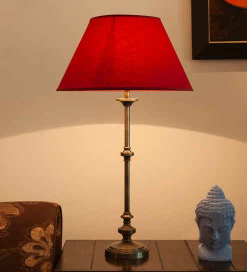 Maroon Cotton Shade Table Lamp With Metal Base By Kapoor E Illuminations
